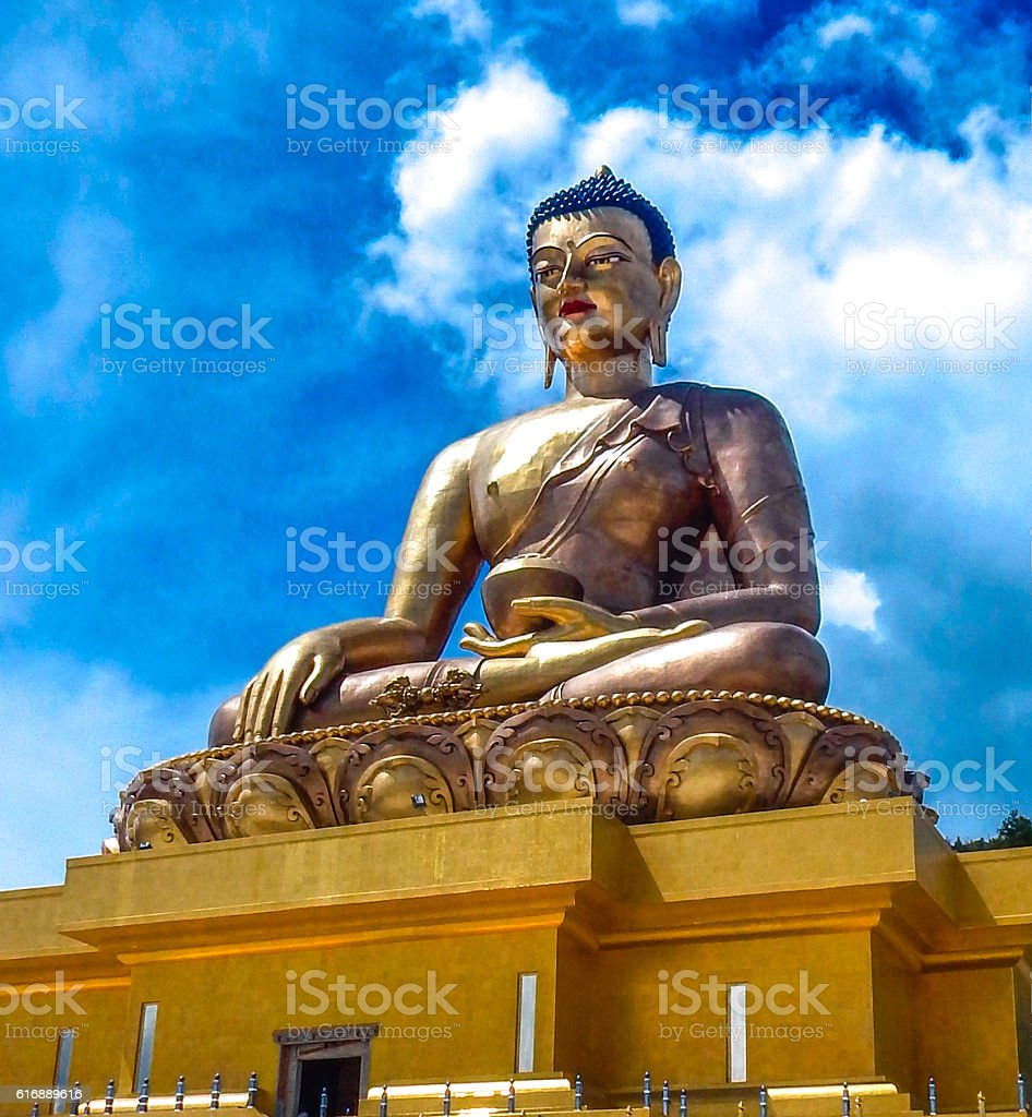Gold Bhoudha statue Bhutan royalty-free stock photo
