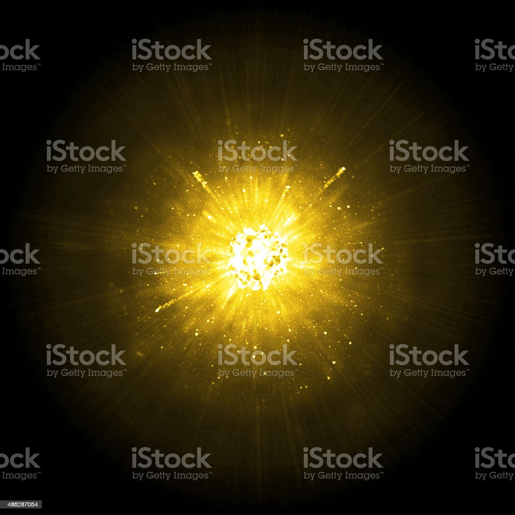 Gold big explosion stock photo