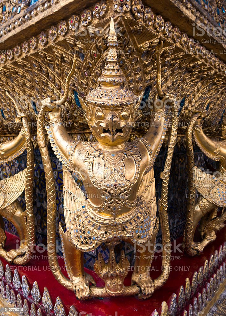Gold Bird Warrior Statues Temple Thailand stock photo
