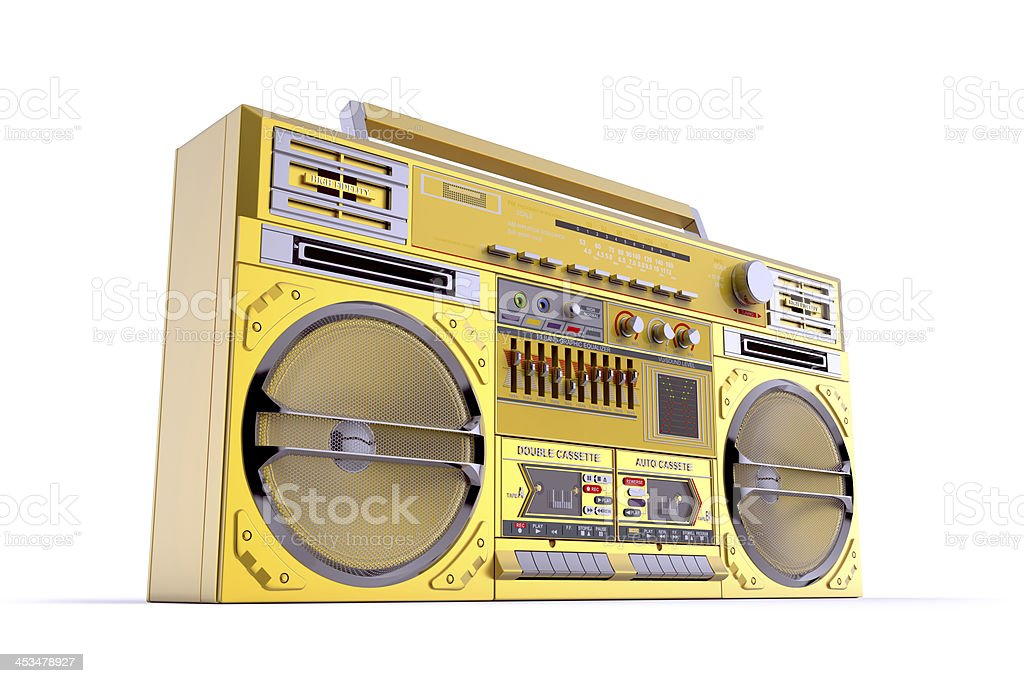 Gold Boombox Perspective View stock photo