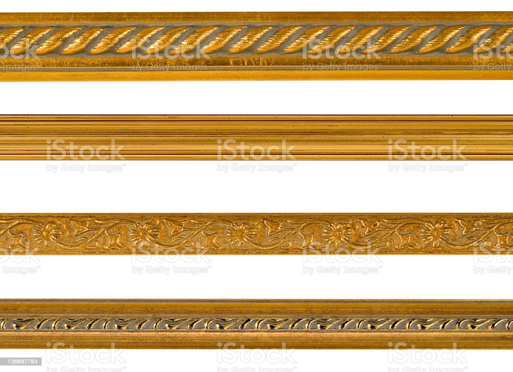 Gold Border and Edge Design Elements, White Isolated royalty-free stock photo