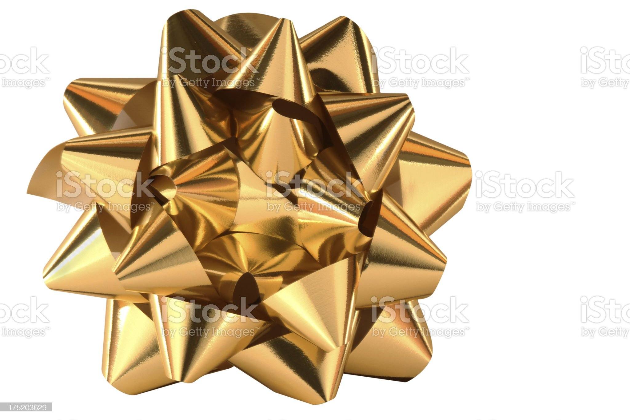 Gold Bow from top royalty-free stock photo