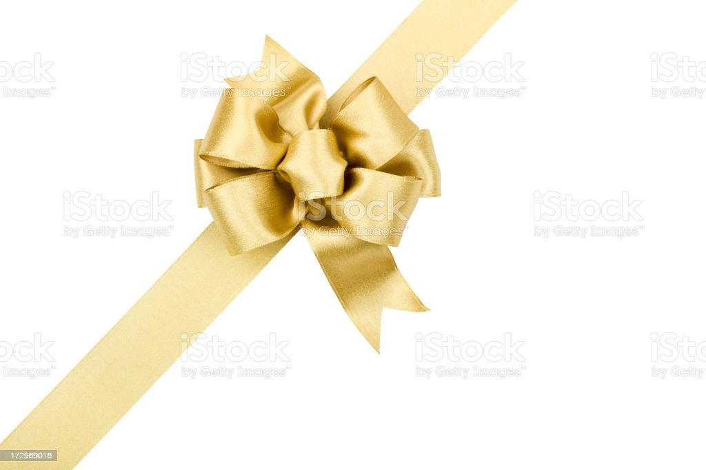 Gold Bow Gift (CLIPPING PATH) (XXL) stock photo