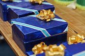 gold bow on gift box for present