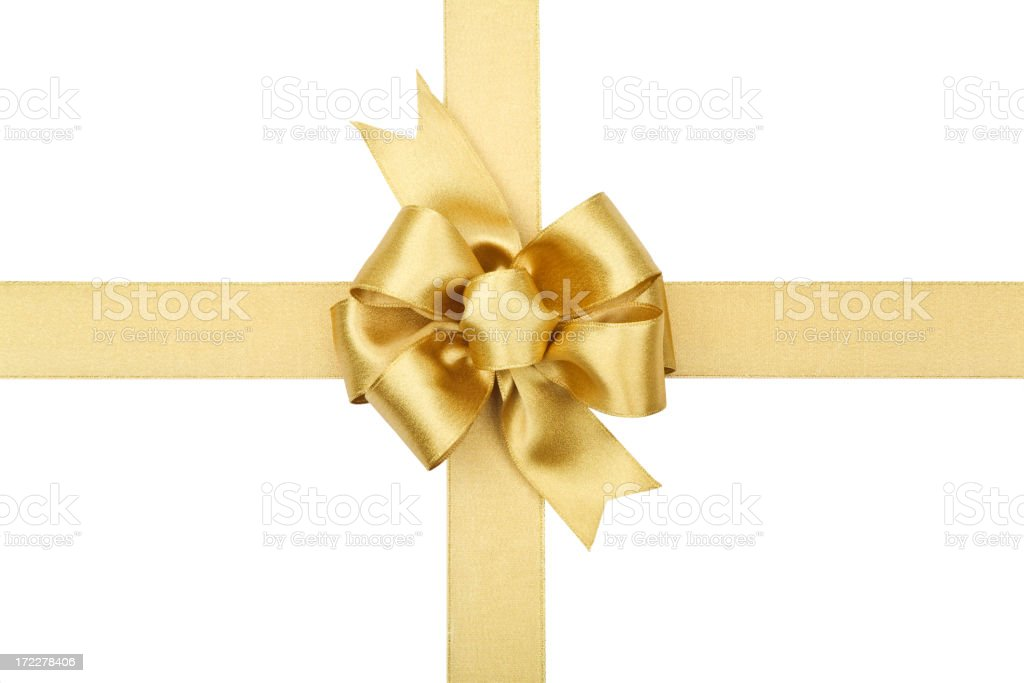 Gold Bow Series (CLIPPING PATH) XL royalty-free stock photo