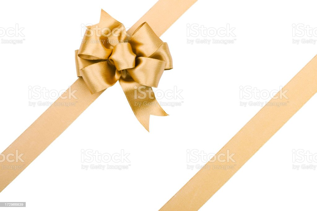 Gold Bow (Clipping path) XXL stock photo