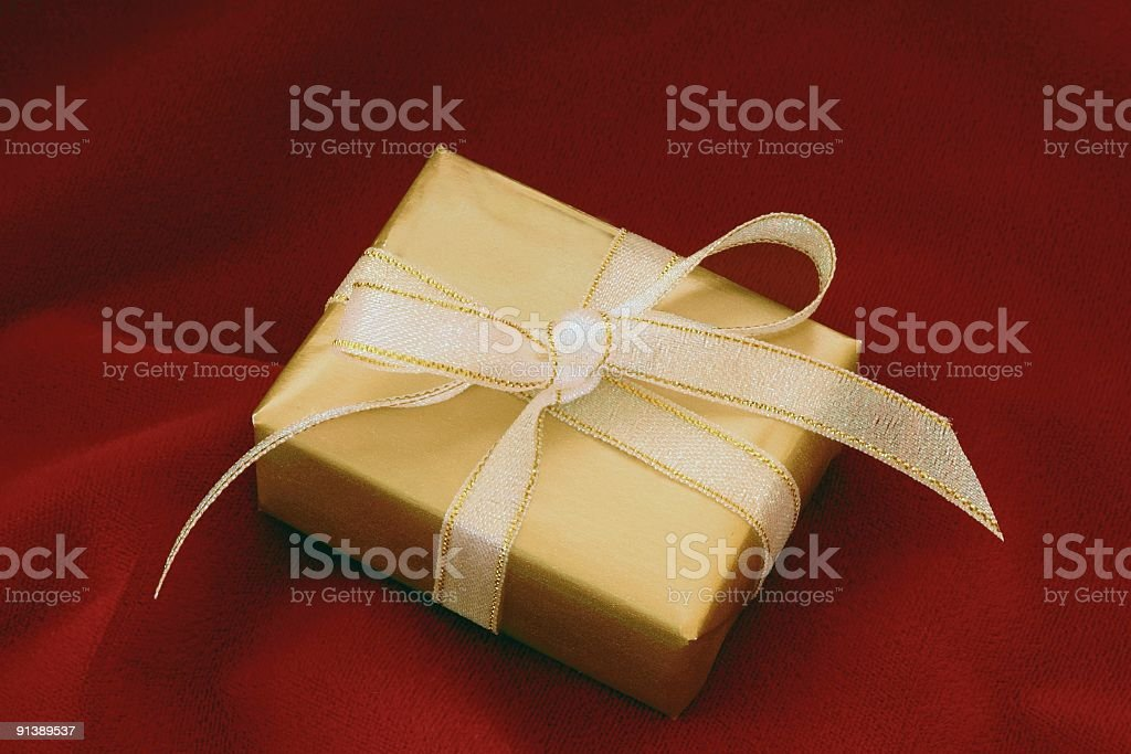 Gold Box on Red stock photo