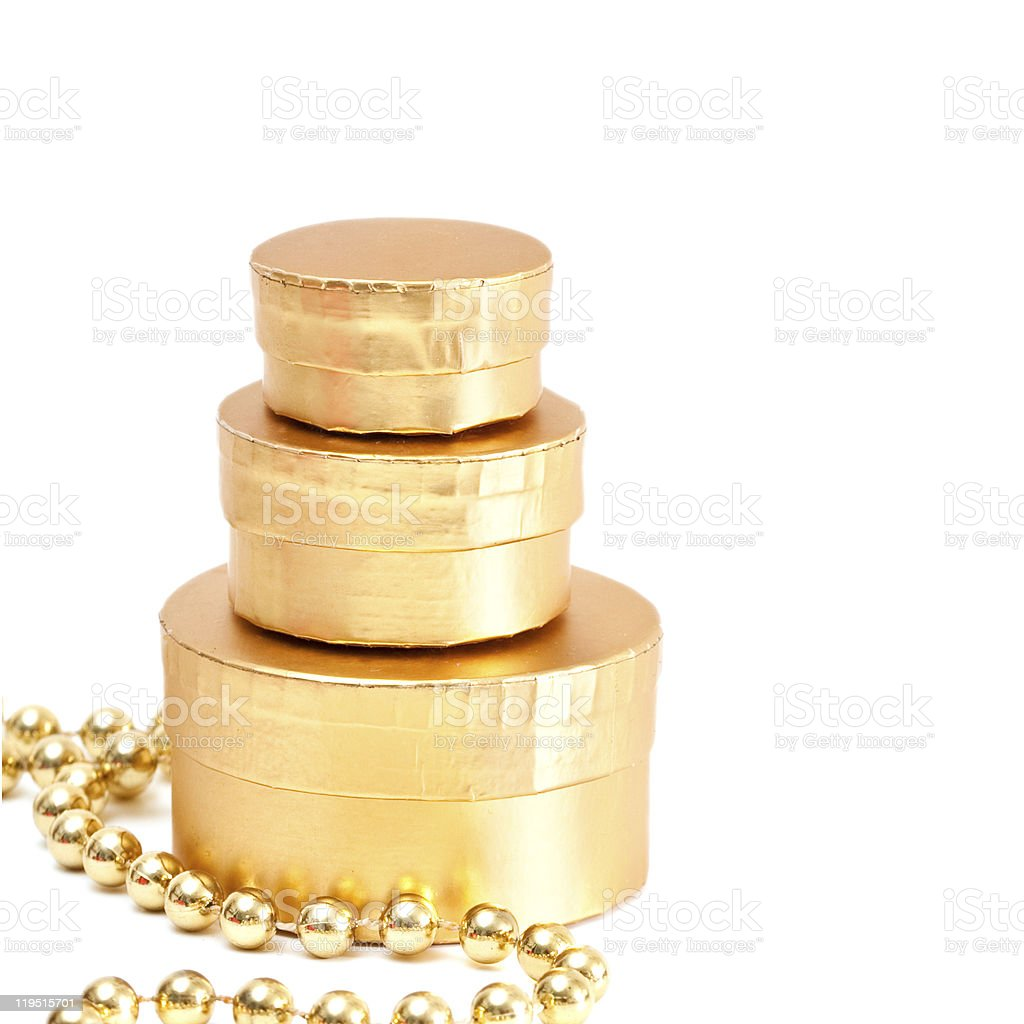 Gold boxes. royalty-free stock photo