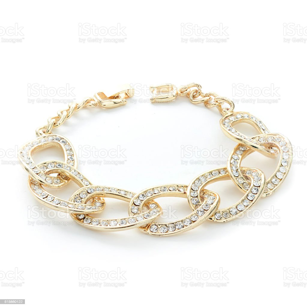 gold bracelet with diamonds isolated on white stock photo