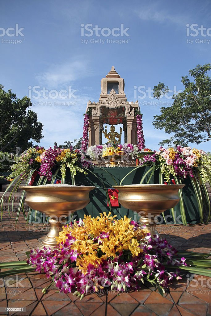 Gold Brahma Statue in worshiping festival. stock photo
