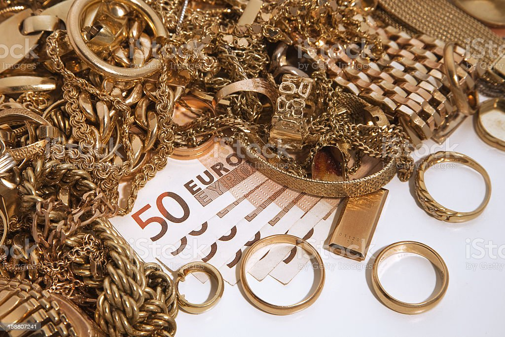 Gold brings money stock photo