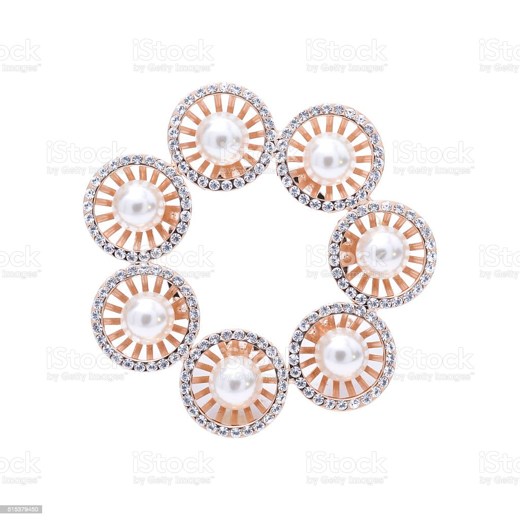 gold brooch with pearls isolated on white stock photo