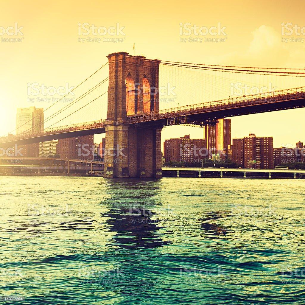 Gold Brooklyn Bridge in Manhattan - NYC stock photo