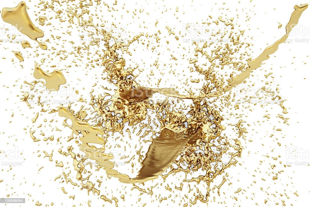 Gold brown liquid splash on white background stock photo
