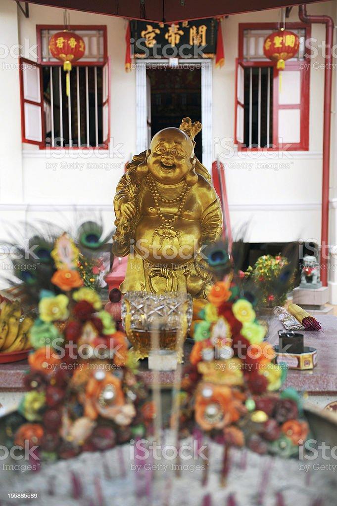 Gold Budai Statue or The Happy Buddha stock photo