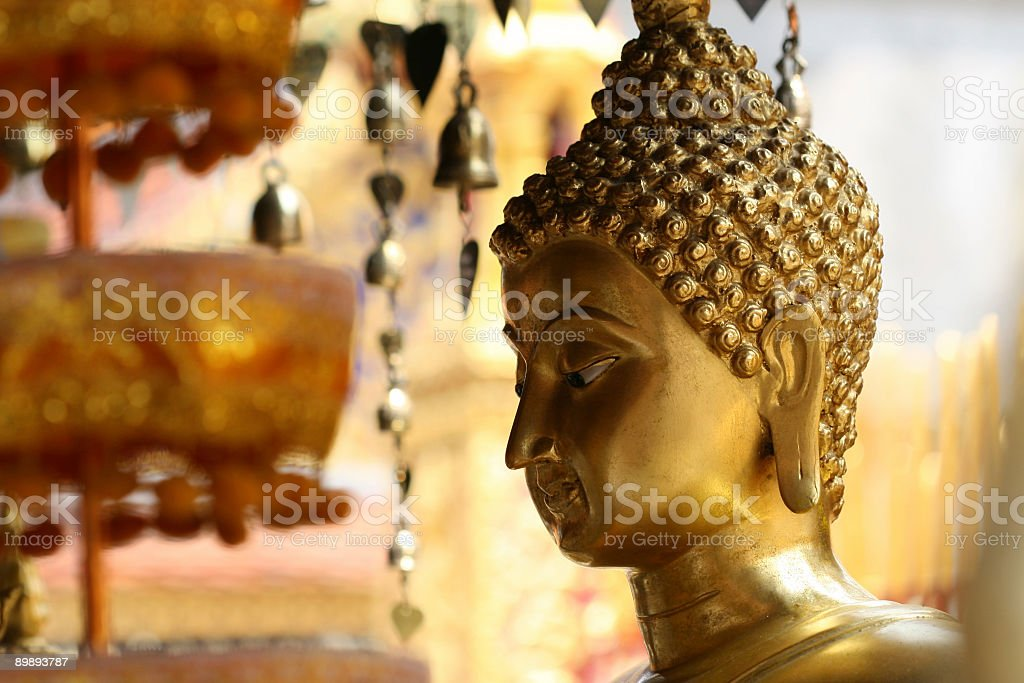 Gold buddha at temple in northern Thailand royalty-free stock photo