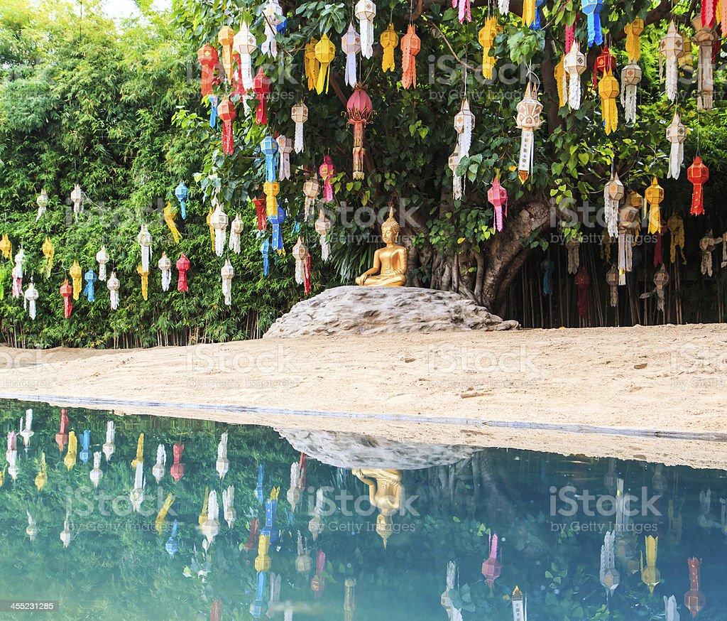Gold buddha at Wat Phan Tao temple chiang mai Thailand royalty-free stock photo