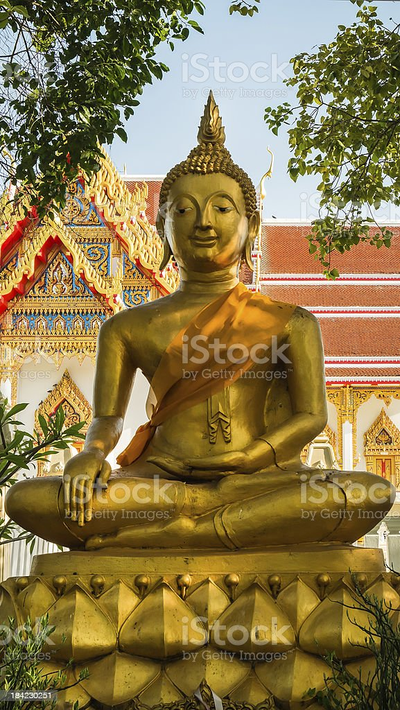 Gold buddha in thai temple royalty-free stock photo
