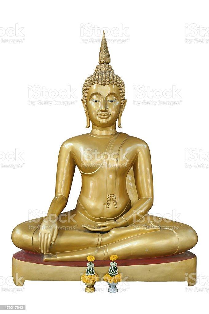 Gold Buddha on white background stock photo