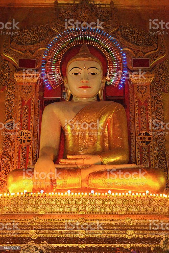 Gold Buddha statue in Mandalay stock photo