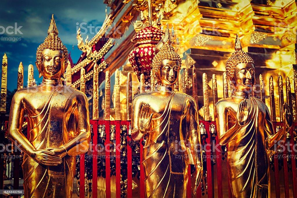 Gold Buddha statues in Wat Phra That Doi Suthep stock photo