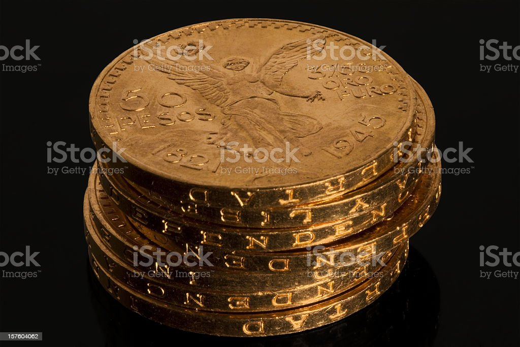 Gold Bullion Coin Stack stock photo