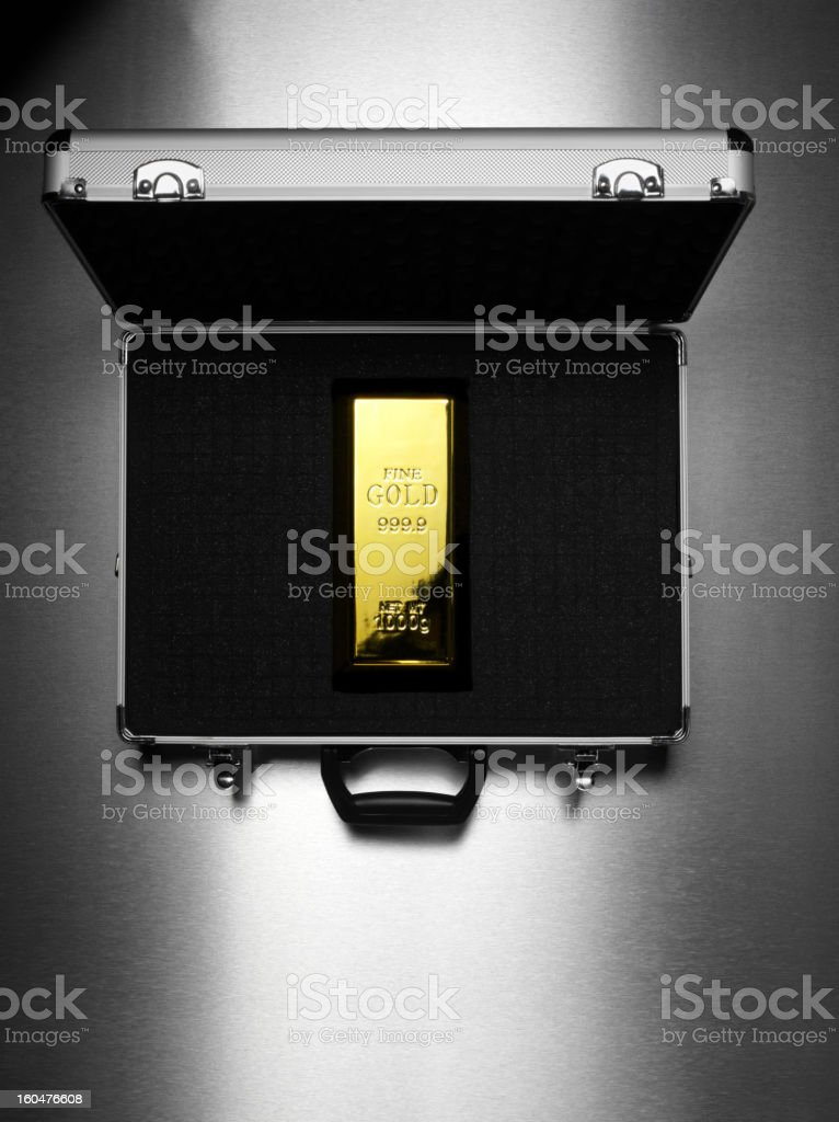 Gold Bullion in a Briefcase stock photo