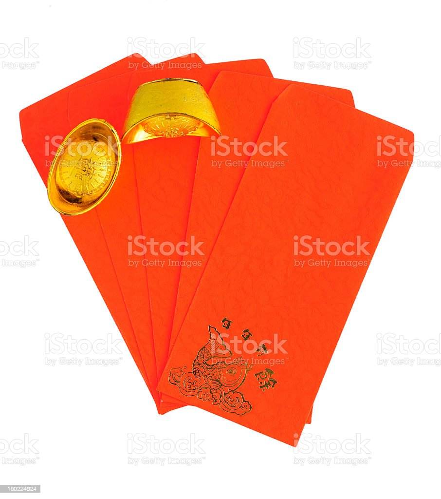 Gold Bullion with Red Envelope royalty-free stock photo