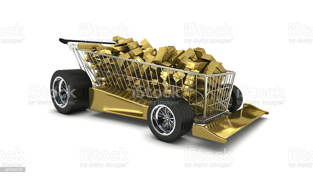 Gold bullions in a shopping cart stock photo