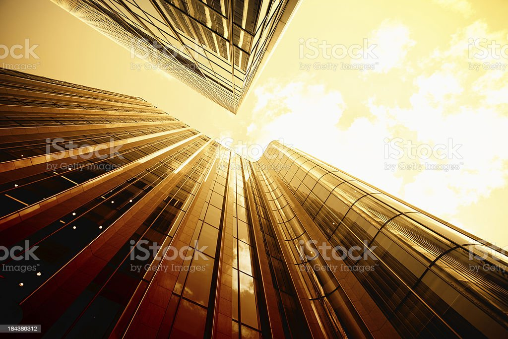 Gold Business District Skyscraper royalty-free stock photo