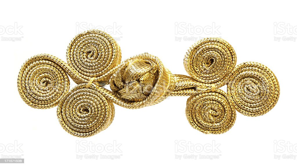Gold button with Chinese ancient clothing stock photo