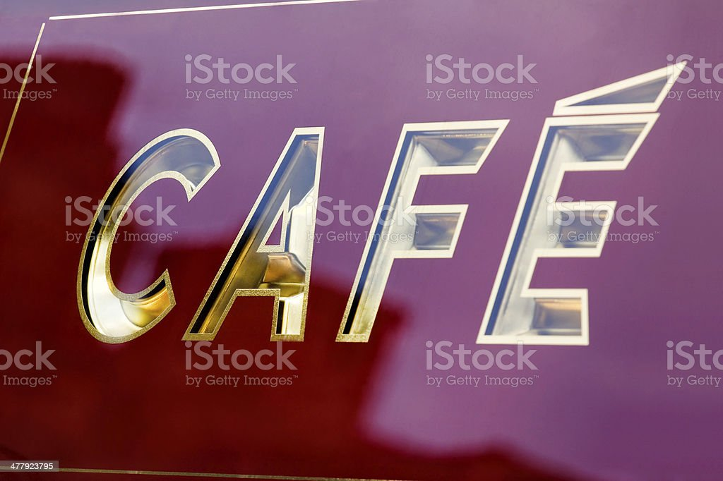 Gold Cafe Fascia Lettering royalty-free stock photo
