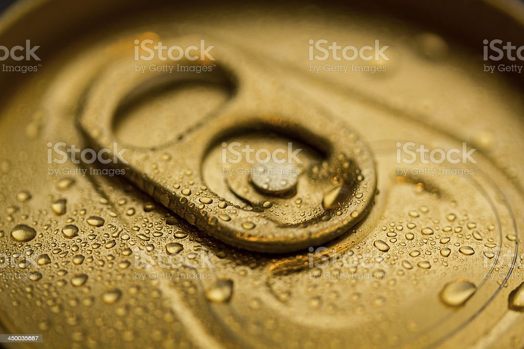 Gold Can With Condensation royalty-free stock photo