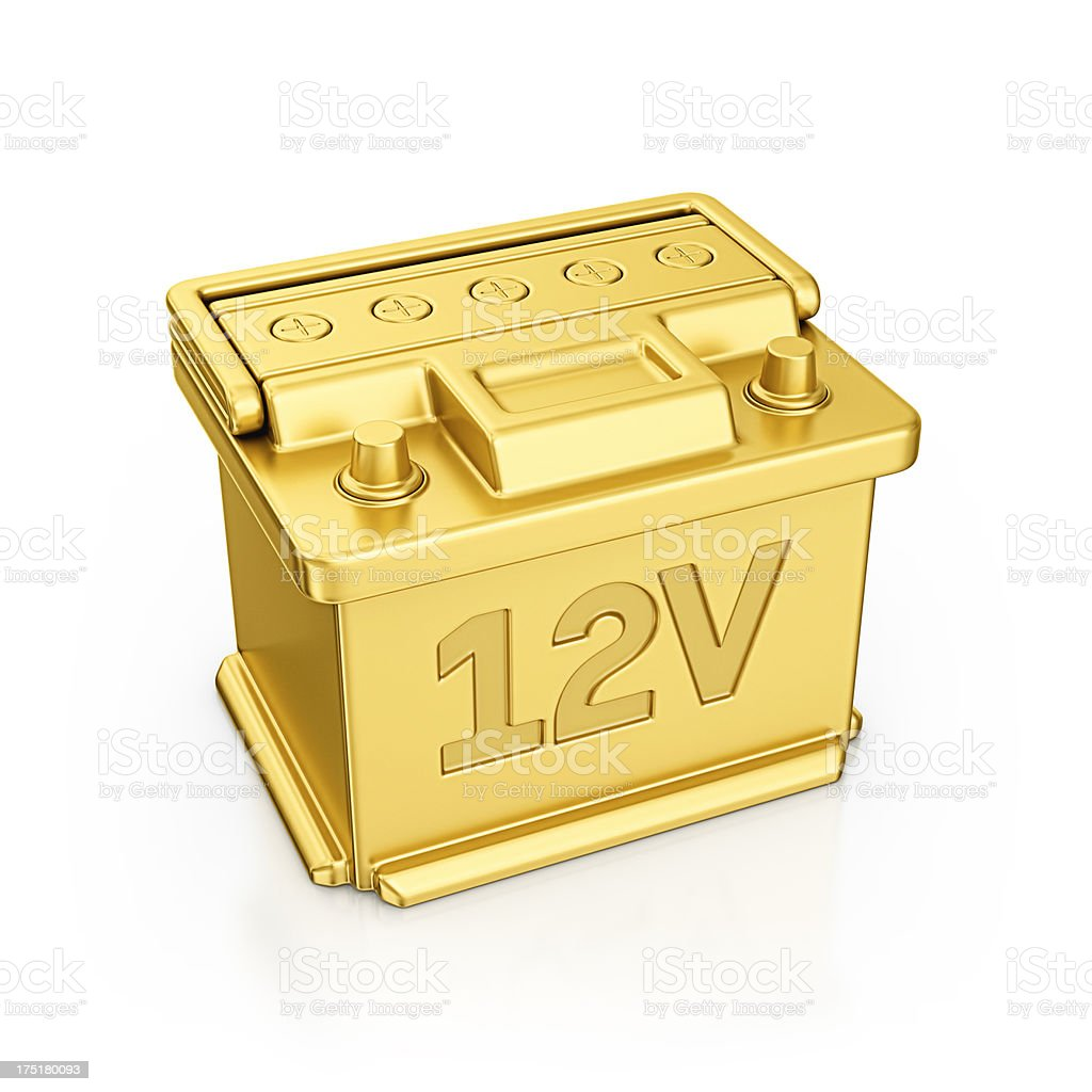 gold car battery stock photo