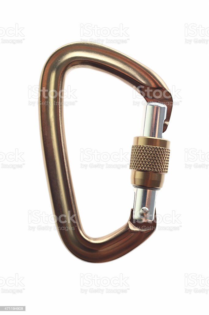 Gold carabiner stock photo