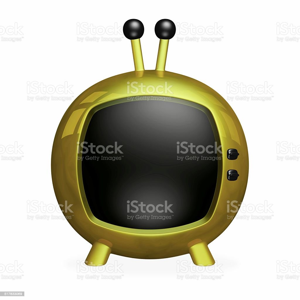 Gold Cartoon 3D TV with Black Screen stock photo