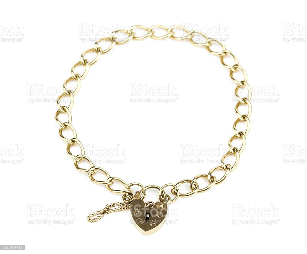 Gold Chain Bracelet With Heart Shaped Padlock Clasp stock photo