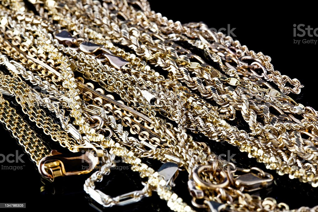 gold chain necklaces royalty-free stock photo