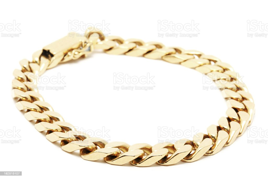 Gold Chain on White Background stock photo