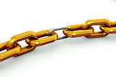 Gold chain with silver link