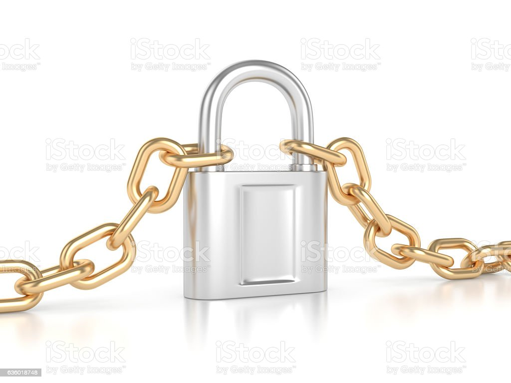 Gold chain with silver lock stock photo