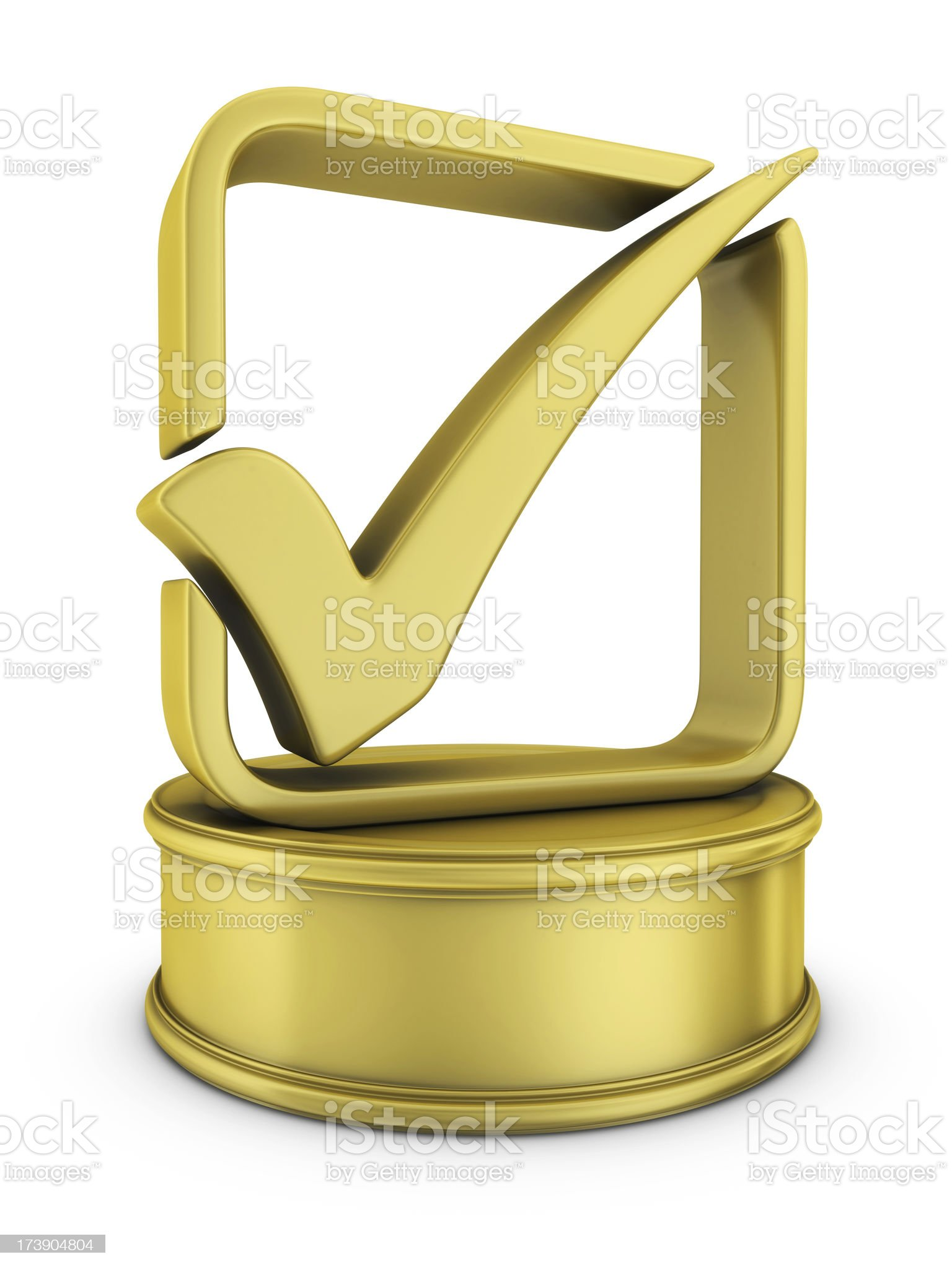 gold check mark award royalty-free stock photo