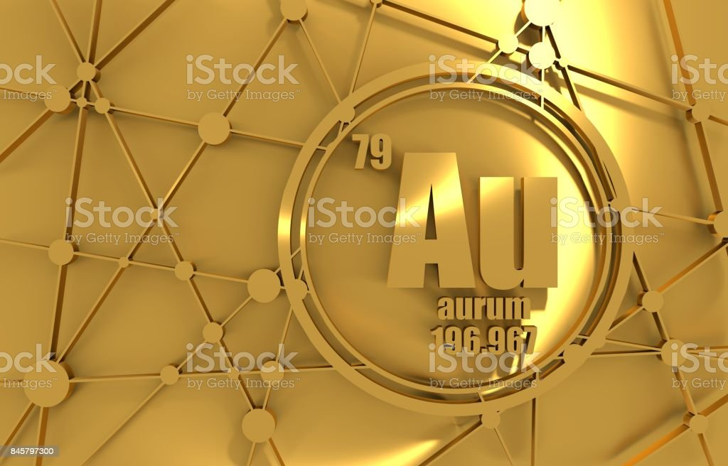 Gold chemical element. stock photo