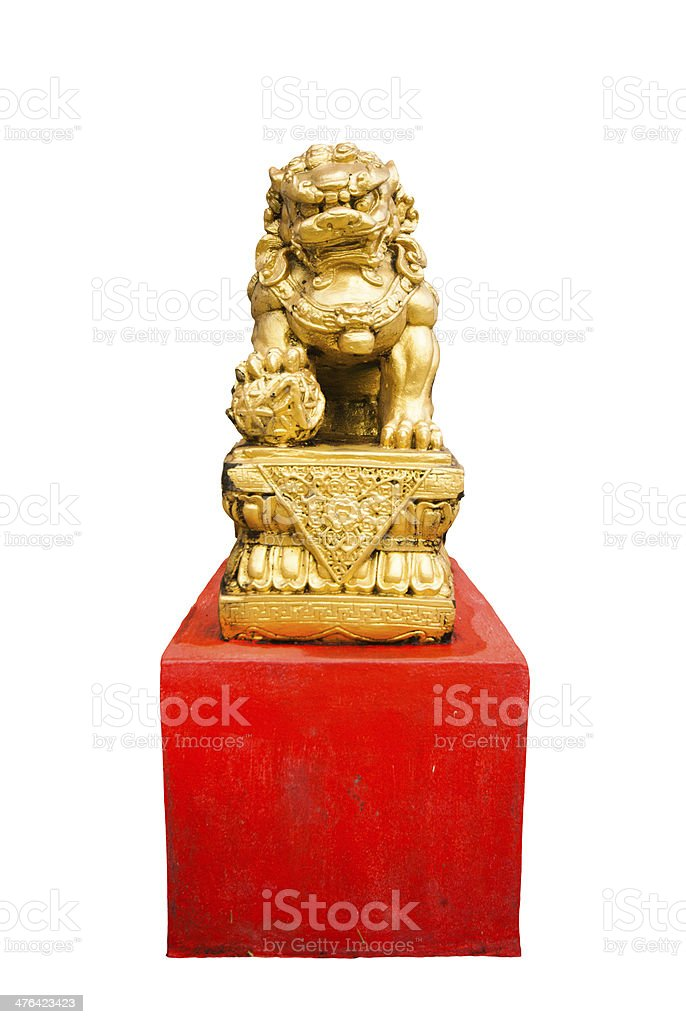 gold chinese lion isolated royalty-free stock photo