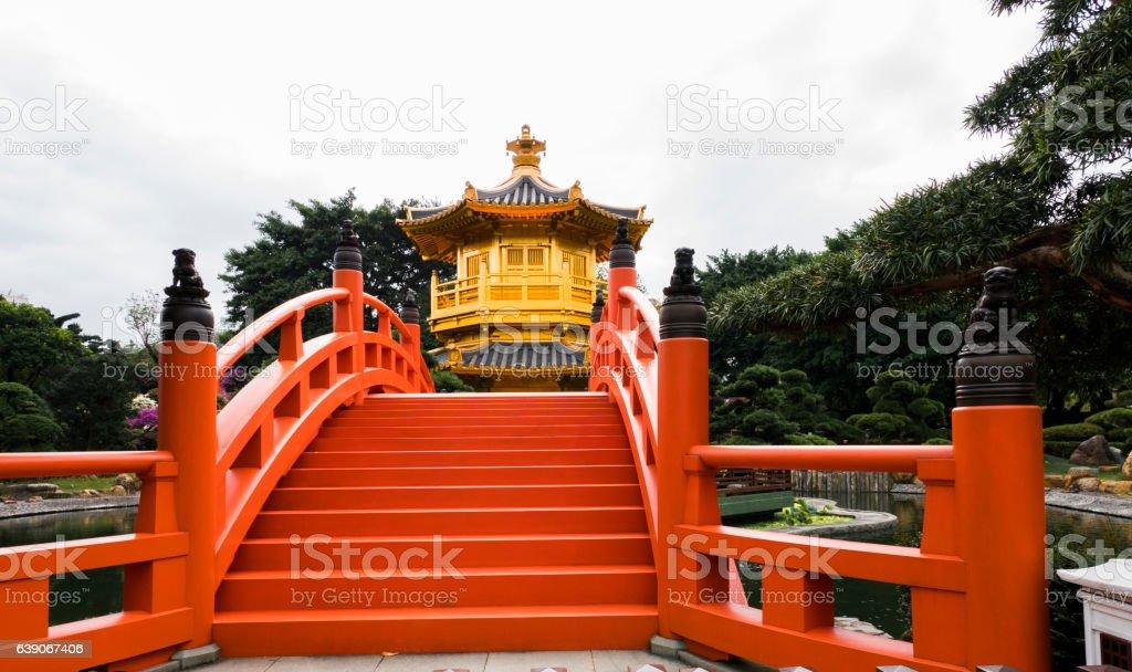 Gold Chinese pavilion at the  Hong Kong Park stock photo