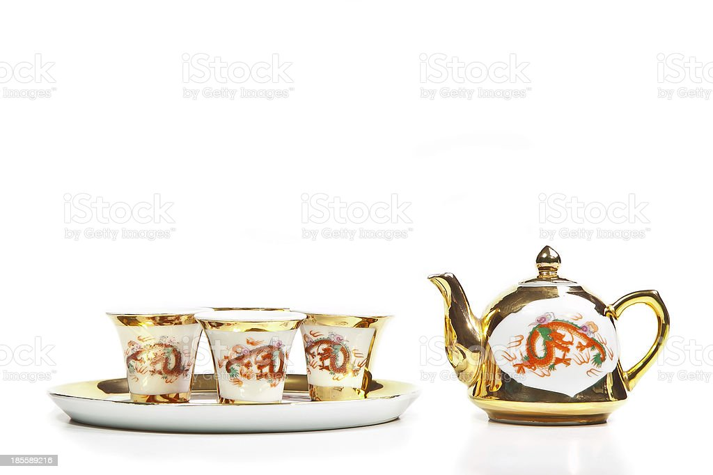 Gold chinese tea set royalty-free stock photo