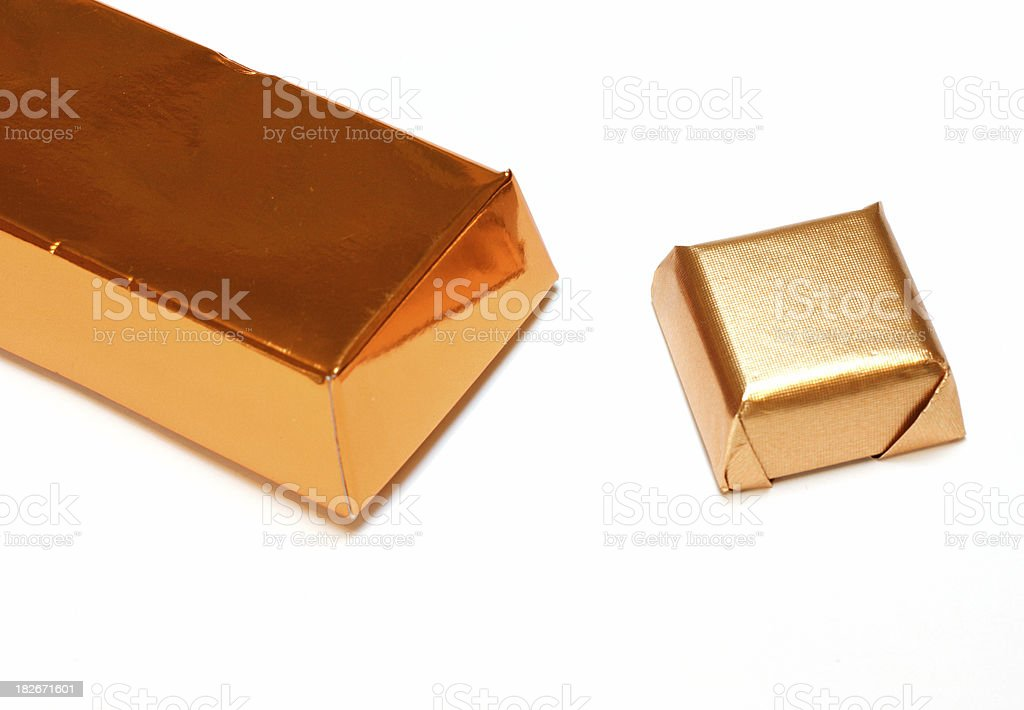 Gold chocolate box royalty-free stock photo