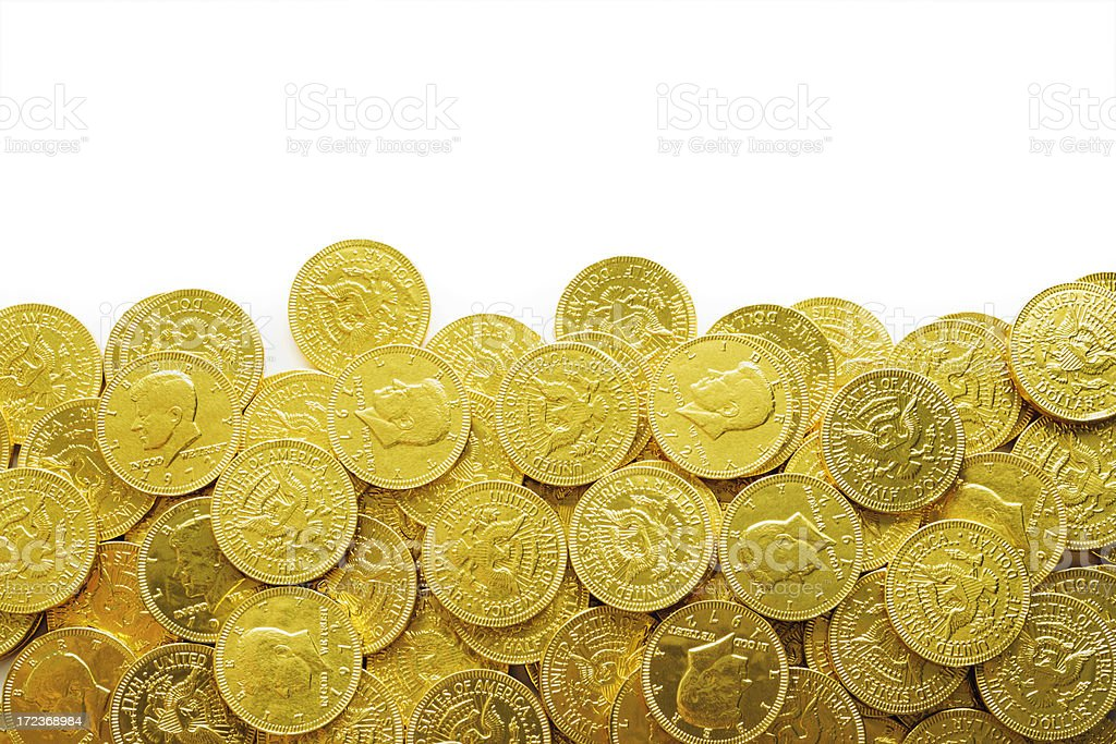 Gold Chocolate Coin Frame Border, Wrapped Candy USA Currency Background stock photo