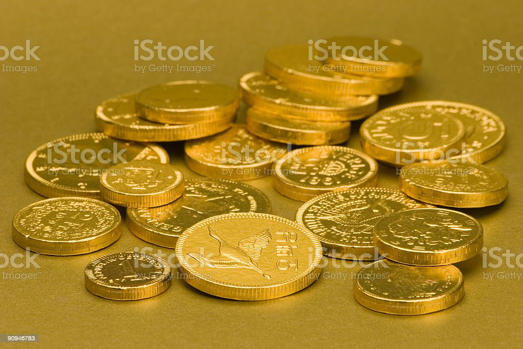 Gold Chocolate Coins royalty-free stock photo
