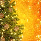 Gold Christmas background of de-focused lights